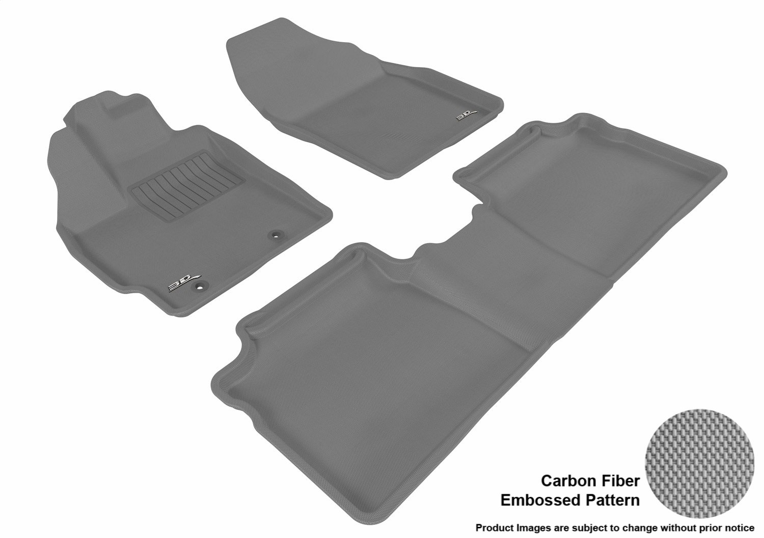 3D MAXpider Complete Set Custom Fit All-Weather Floor Mat for Select Toyota Tacoma Models Black Kagu Rubber