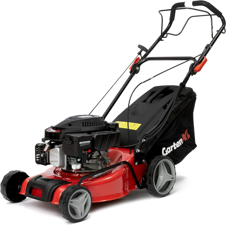 GartenXL 16R-127-M3 Cortacésped de gasolina, autopropulsión, cortacésped, 40 cm, recogida, mantillo, tracción por ruedas, Q-clean