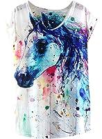 Futurino Women's Dream Mysterious Horse Print Short Sleeve Tops Casual Tee