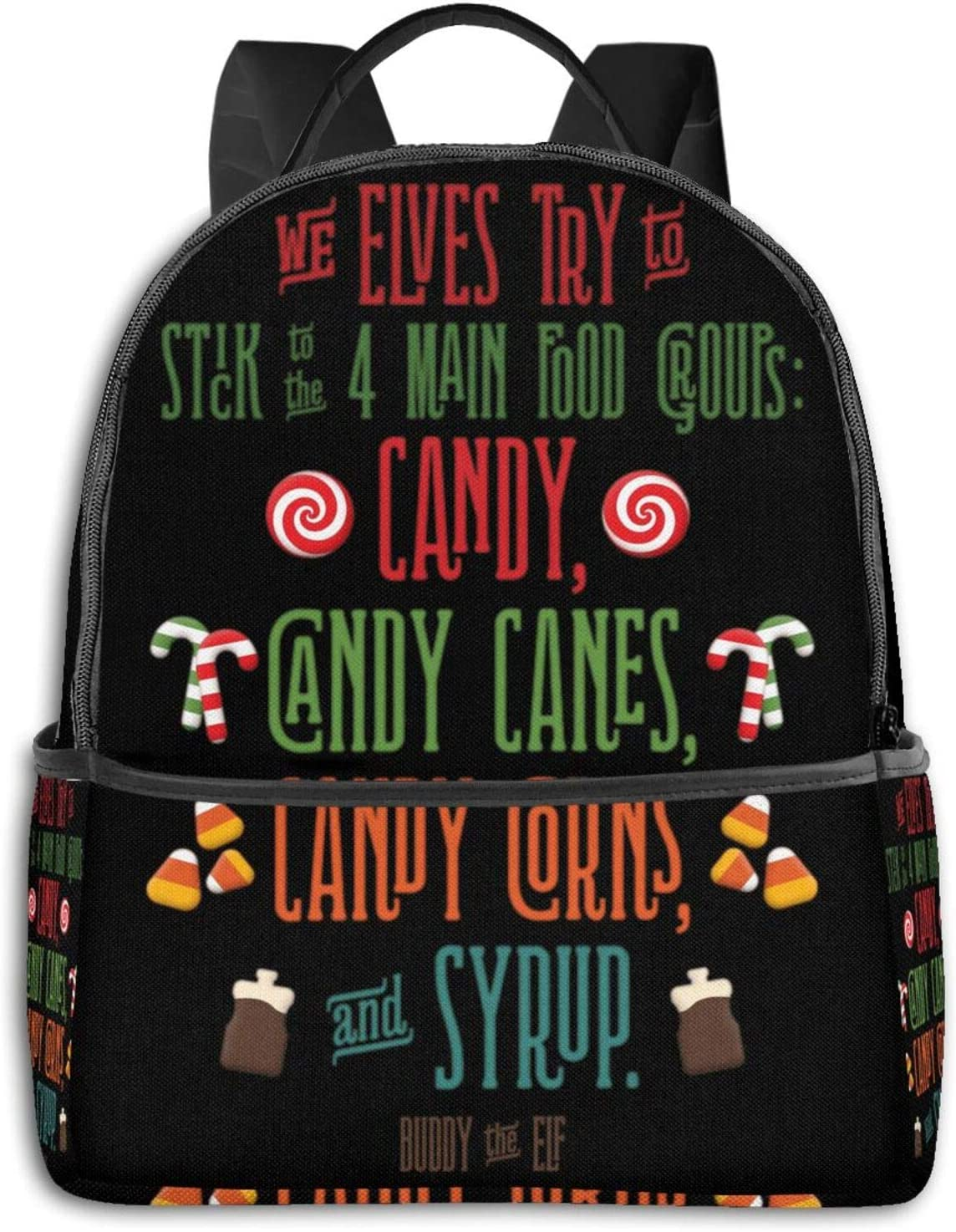 Buddy The Elf - The Four Main Food Groups Pullover Hoodie Student School Bag School Cycling Leisure Travel Camping Outdoor Backpack