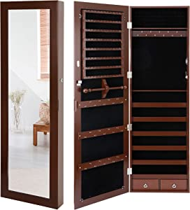 SUPER DEAL Jewelry Armoire Lockable Jewelry Cabinet Wall/Door Mounted Jewelry Organizer with Full Length Mirror and Drawers - 14.5W x 48H in - Brown
