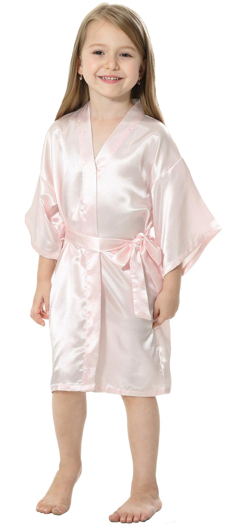 JOYTTON Kids' Satin Rayon Kimono Robe Bathrobe Nightgown (4,Pink)