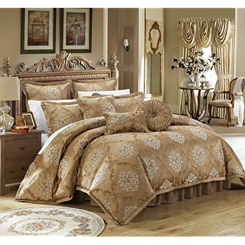 Chic Home 9 Piece Aubrey Decorator Upholstery Quality Jacquard Scroll  Fabric Bedroom Comforter Set U0026 Pillows