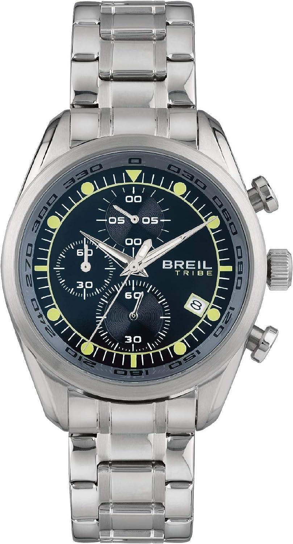 Breil - Reloj de hombre Spoiler, esfera monocromática, movimiento de cuarzo y pulsera de acero EW0478