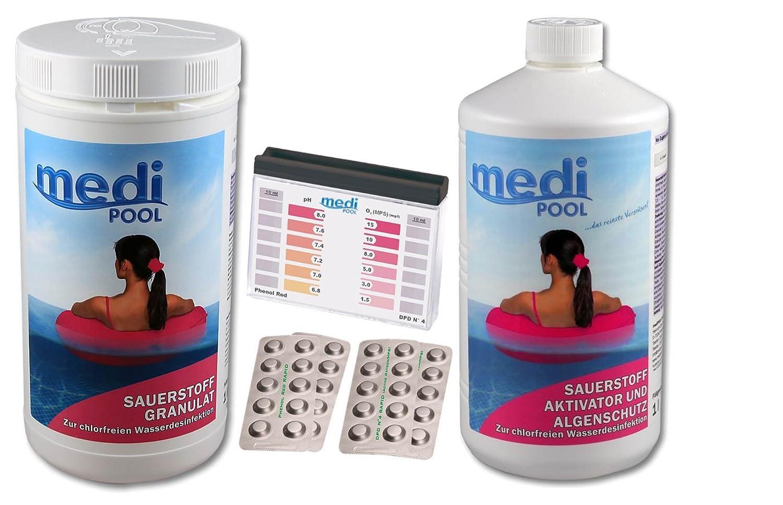 mediPOOL Set 1 x Gránulos de oxígeno 1, 0 kg + 1 x Activador oxígeno activo 1, 0 l + dpd4/PH Tester + por 20 PH y dpd4 pastillas: Amazon.es: Jardín