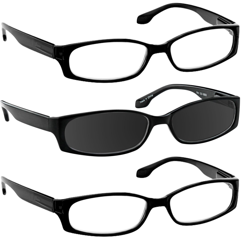3c63f12d6340 Amazon.com  Reading Glasses 1.00 2 Black 1 Black Sun (3 Pack) F503  TruVision  Clothing
