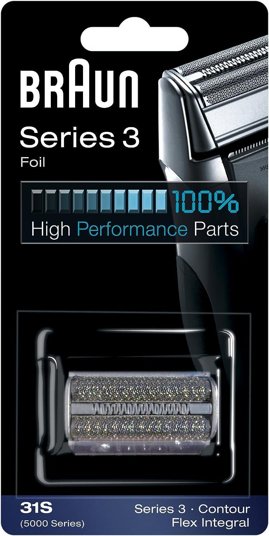 Braun 31S - Recambio para afeitadora eléctrica hombre para Series 3 (antigua generación), Contour, Flex XP y Flex Integral, lamina y bloque cortante