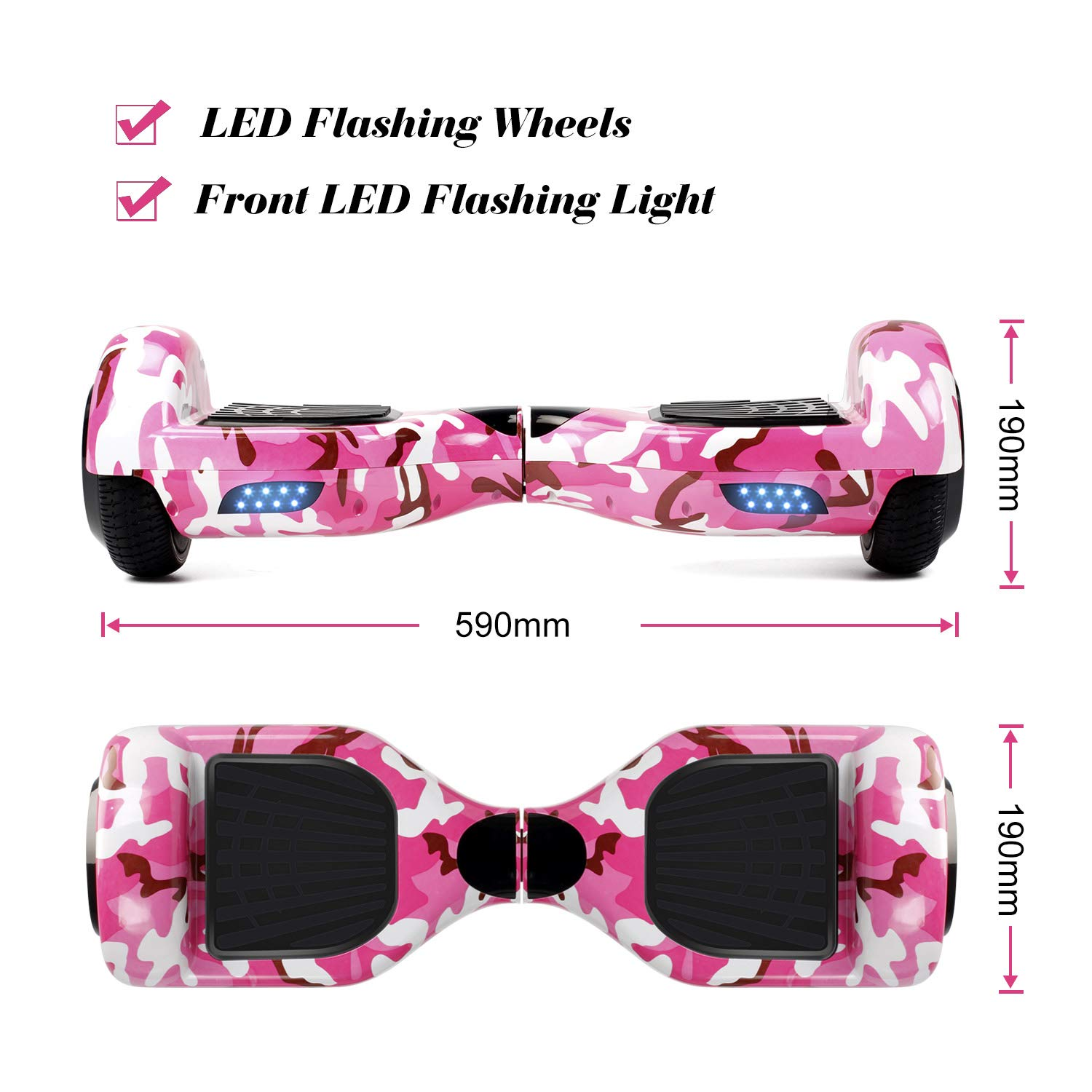 SISIGAD Hoverboard Self Balancing Scooter 6.5'' Two-Wheel Self Balancing Hoverboard with LED Lights Electric Scooter for Adult Kids Gift UL 2272 Certified Fun Edition - Pink Camou by SISIGAD (Image #2)