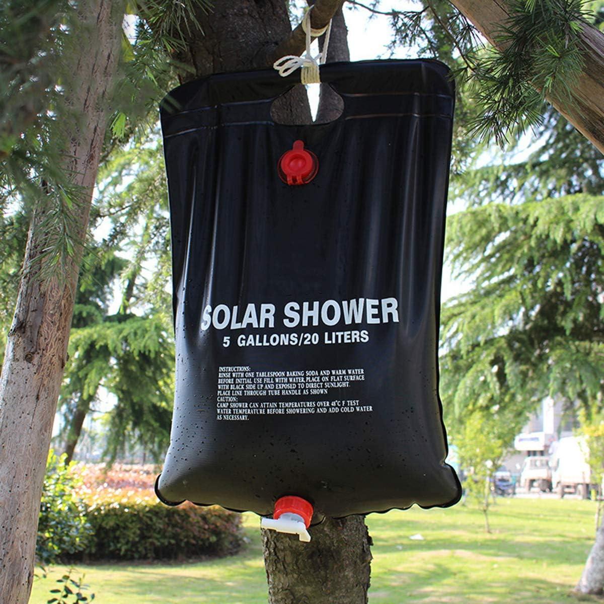 para camping bolsa de ba/ño bolsa de almacenamiento senderismo 20 L con calefacci/ón solar plegable Bolsa de ducha solar para acampada ligera port/átil OhhGo