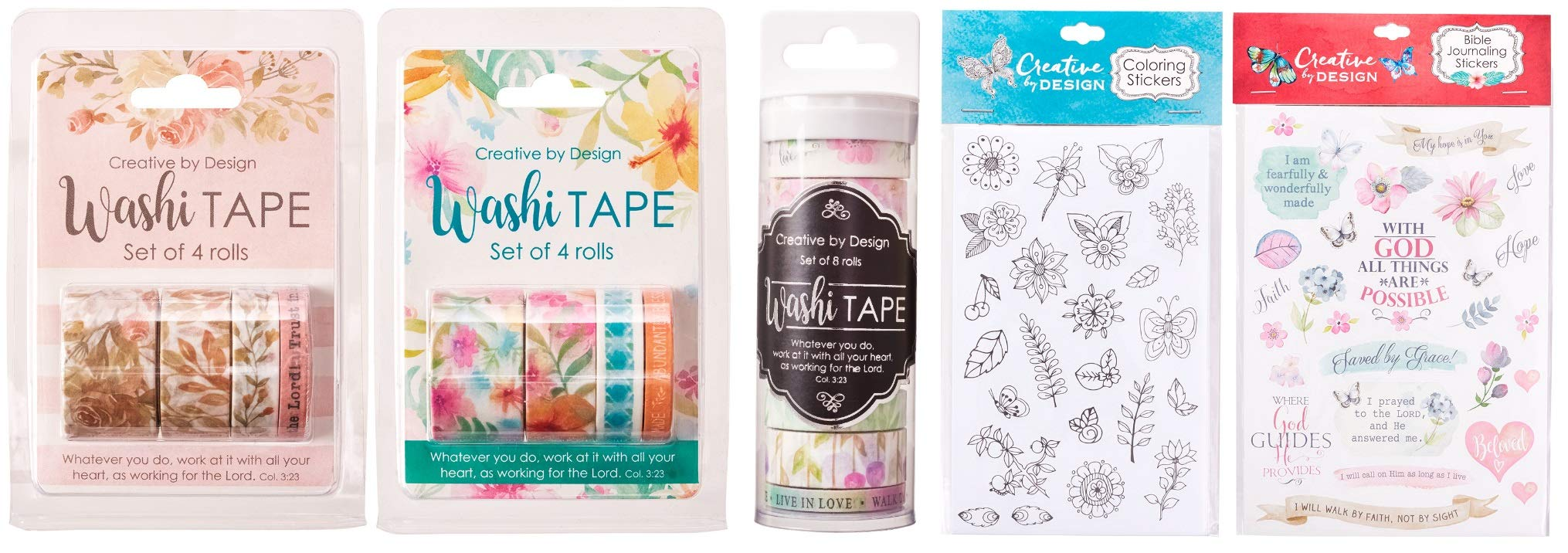 Bible Journaling Washi Tape and Stickers Bundle   16 Rolls of Tape and 210 Stickers for Faith Scrapbooking, Planners and Journals   by Christian Art Gifts