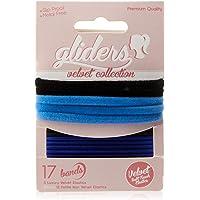 Gliders Velvet Soft Touch Elastic Bands 17 Pieces, Black/Blue