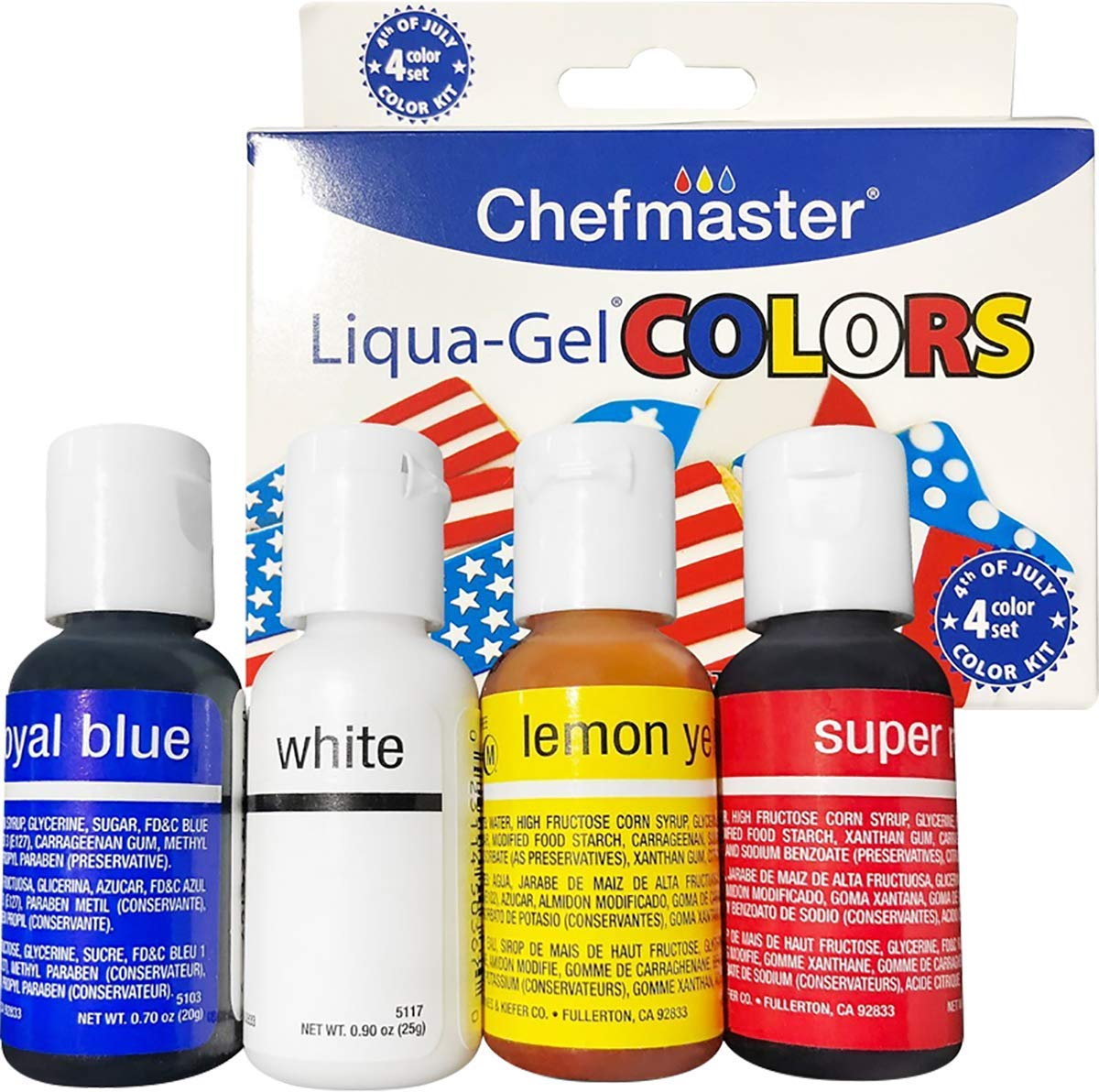 Chefmaster: 4th of July Liqua-Gel Food Color Kit - 4-Pack - 2.8oz bottles - Vibrant Patriotic Colors, Easy-To-Blend Formula, Fade-Resistant - For Cake Decorating, Cookie Decorating, Drinks and More
