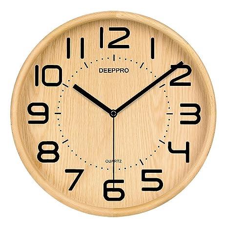 Amazon.com: DEEPPRO Silent Wall Clock Wood 12-inches Diameter Non ...