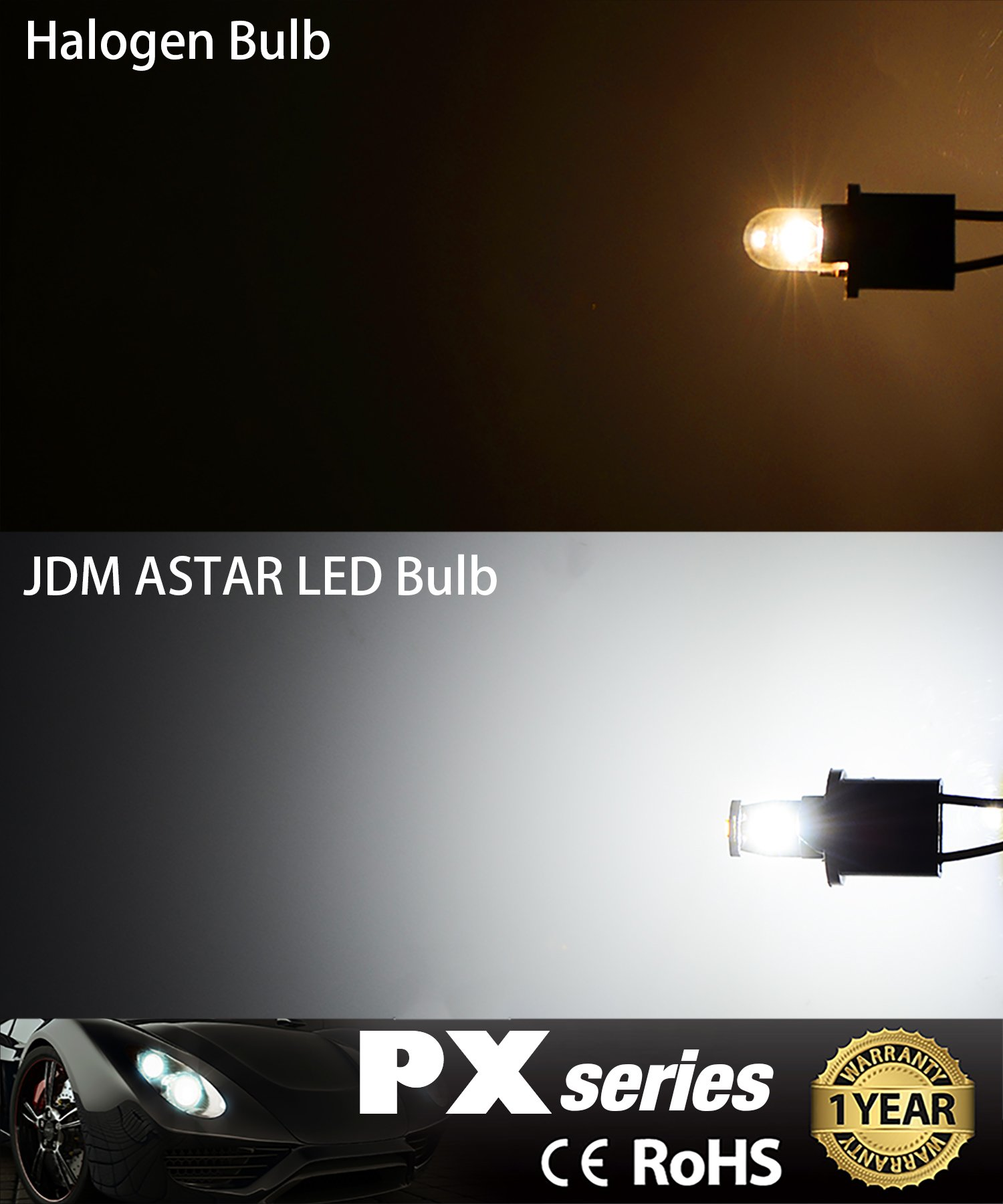 JDM ASTAR 10pcs Super Bright 194 168 175 2825 T10 PX Chipsets LED Bulbs,Xenon White (Best Value on the market) by JDM ASTAR (Image #3)