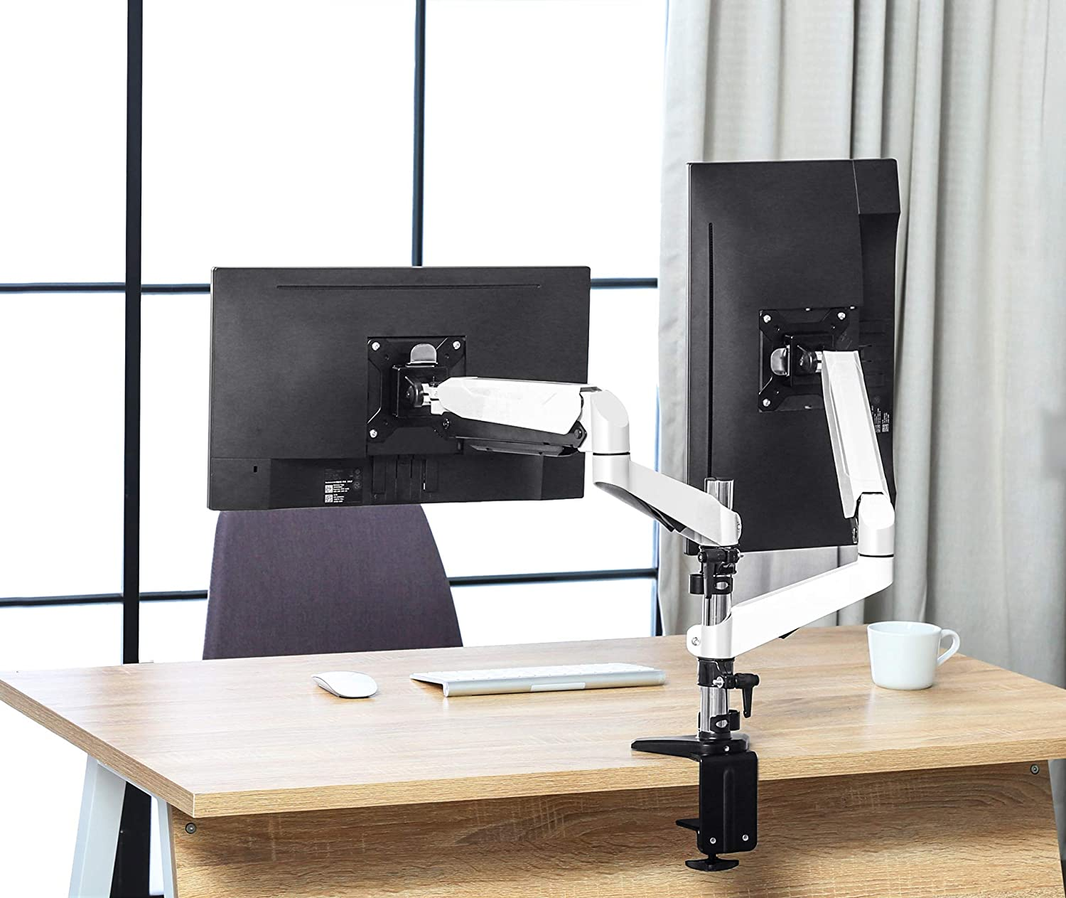 Gas Spring Powered Desktop Clamp Mount Full Motion Adjustable FITUEYES Dual Monitor Arm for 15 to 27 inch Screens Vesa 75-100 mm,180/° Tilt,360/° Rotation /& 180/° Swivel