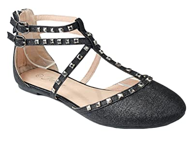 3b4c0b493f1bee JJF Shoes Women Bella61 Black Glitter Rhinestone Studded Strappy Buckle  Back Zip Ballet Dress Flats-
