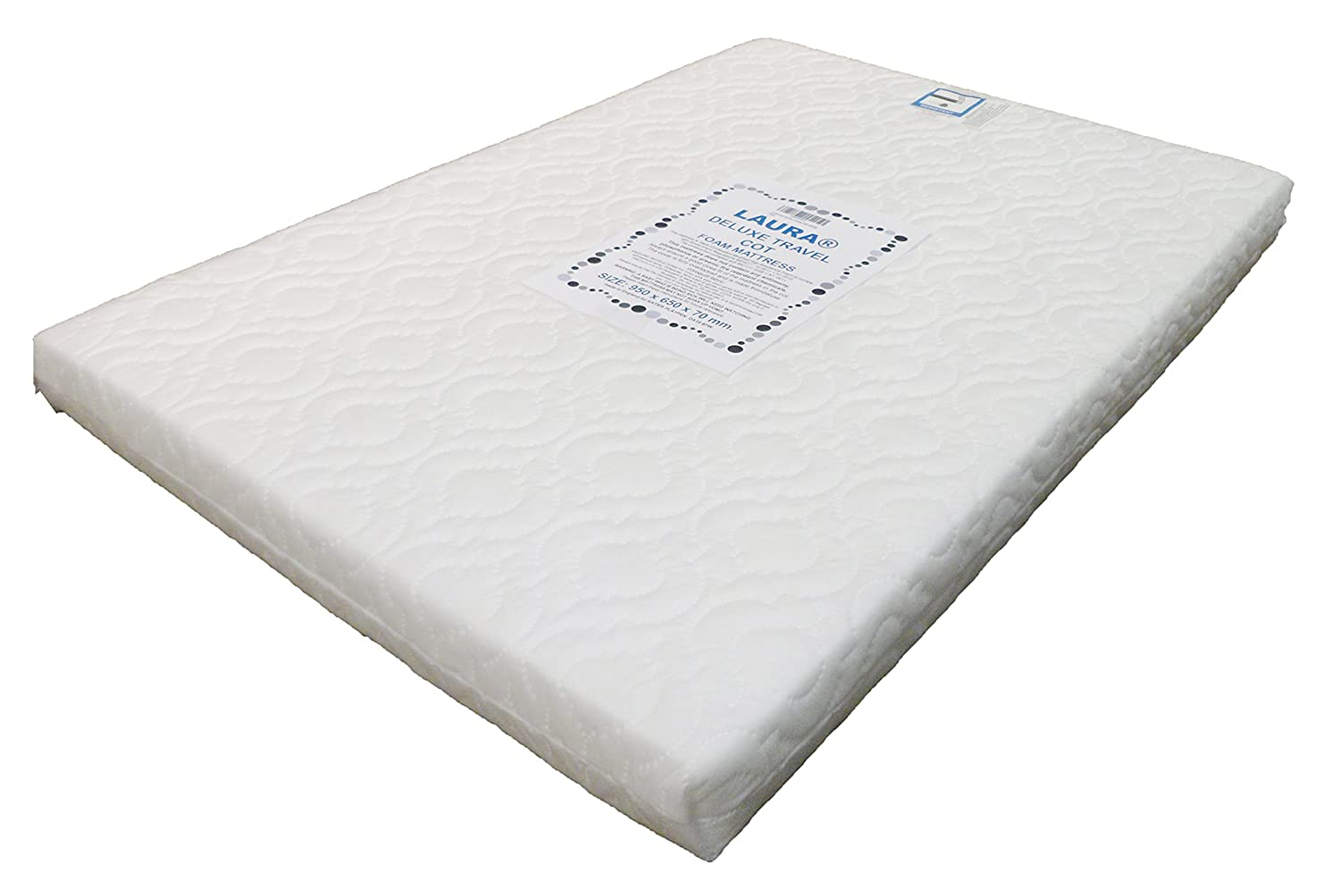 LAURA Extra Thick 95x65cm Travel Cot Mattress 7cm Thick So More Comfy : Reversible : BRITISH MADE With High Grade Density Foam CMHR28 LAURA-95-7