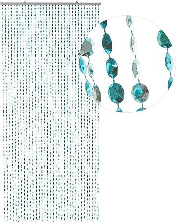 Hab Gut Dv0358 Türvorhang Diamanten Blue Metallic 90x200 Perlenvorhang Pailettenvorhang Küche Haushalt