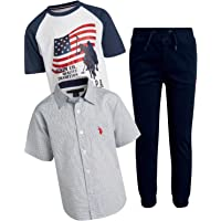 U.S. POLO ASSN. Boys 3-Piece Jogger Pant Set with Woven Shirt and Short Sleeve T-Shirt