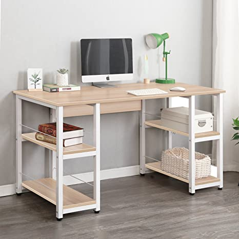 Astonishing Soges Home Office Desk 55 Inches Computer Desk Morden Style With Open Shelves Worksation Desk Maple Dz012 140 Mo Download Free Architecture Designs Estepponolmadebymaigaardcom