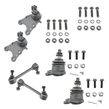 6 Pc Kit Front Upper /& Lower Ball Joints Sway Bar Ends