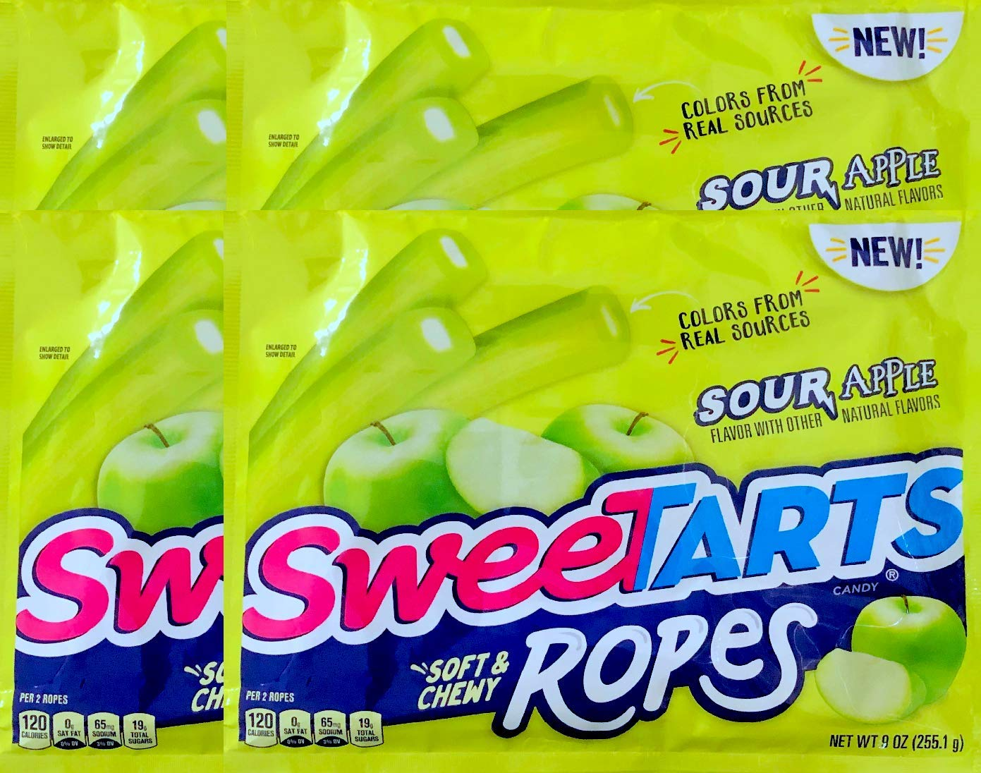 NEW Sweetarts Sour Apple Soft & Chewy Ropes Net Wt 9oz (4) by SweetartsRopes