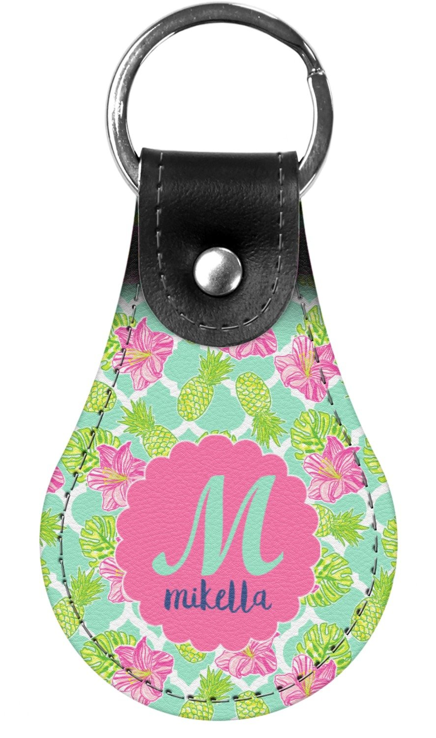Preppy Hibiscus Genuine Leather Keychain (Personalized)