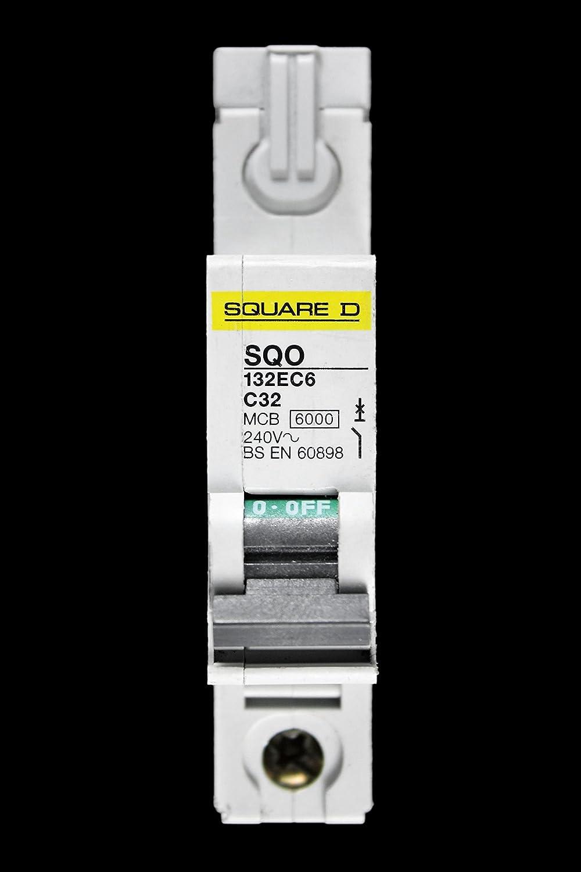 SQUARE D 32 AMP TYPE C 6kA MCB CIRCUIT BREAKER SQO 132EC6