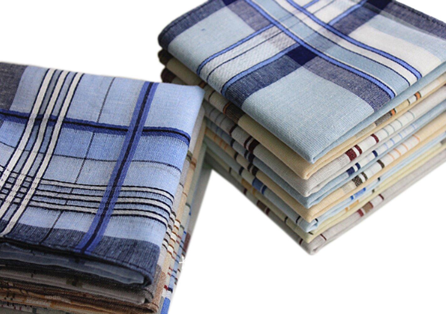 La closure Men Handkerchiefs Classic Cotton Handkerchiefs Hanky 20PCS by La closure