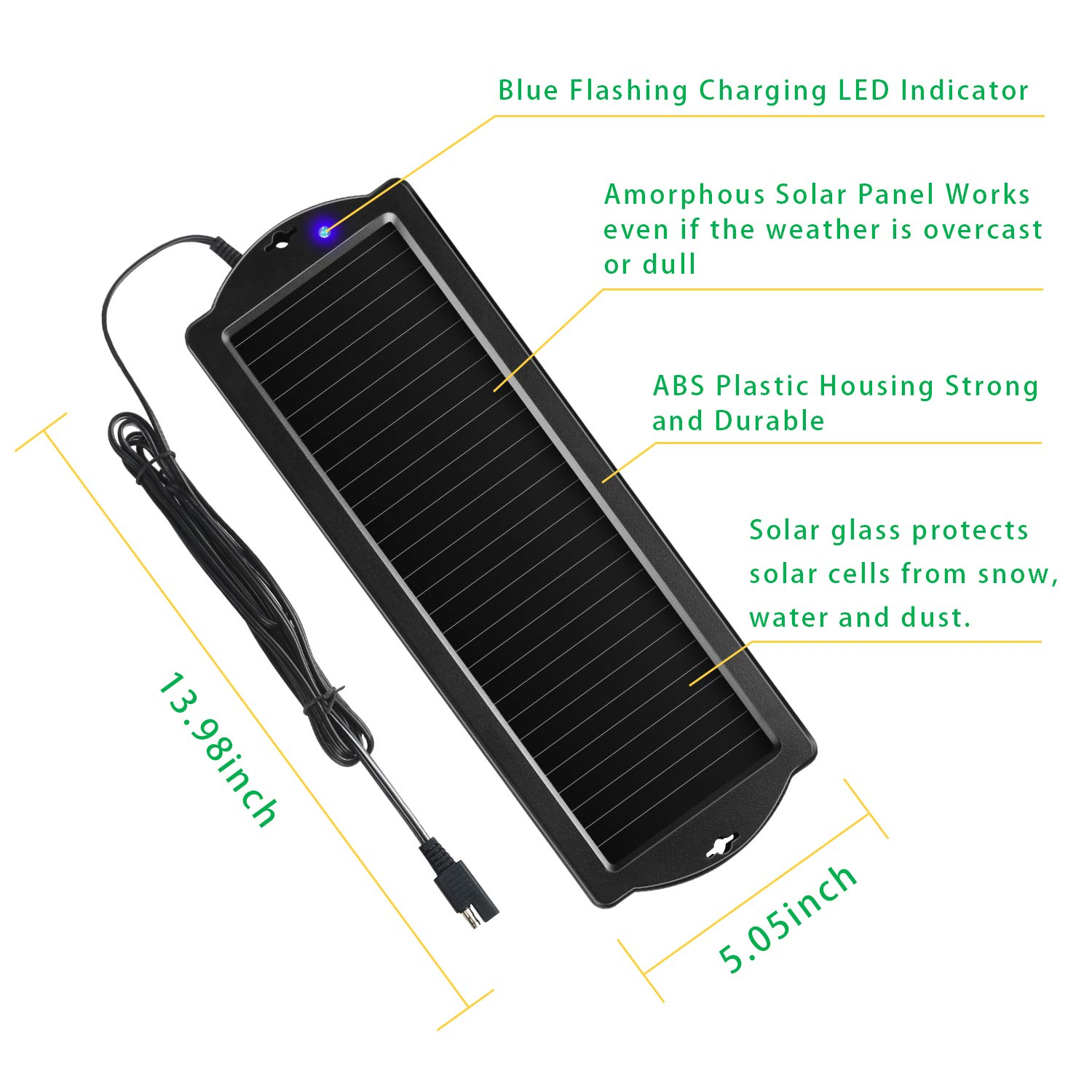 Sunway Solar Car Battery Trickle Charger & Maintainer 12V Solar Panel Power Battery Charger With Cigarette Lighter Plug Battery Clamp For Car ...