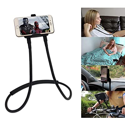 Polifall Upgrade Cell Phone Holder, Universal Mobile Phone Stand, Flexible Long Lazy Neck Waist Bracket, Adjustable 360° Free Rotating Gooseneck Mount with Multiple Function for Bed Couch Kitchen