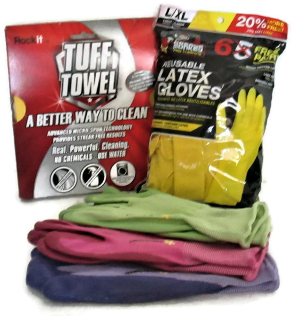 3 Cleaning Combo - 6 Reusable Latex Gloves, 3 Nitrile Work/Garden Gloves & Tuff Towel