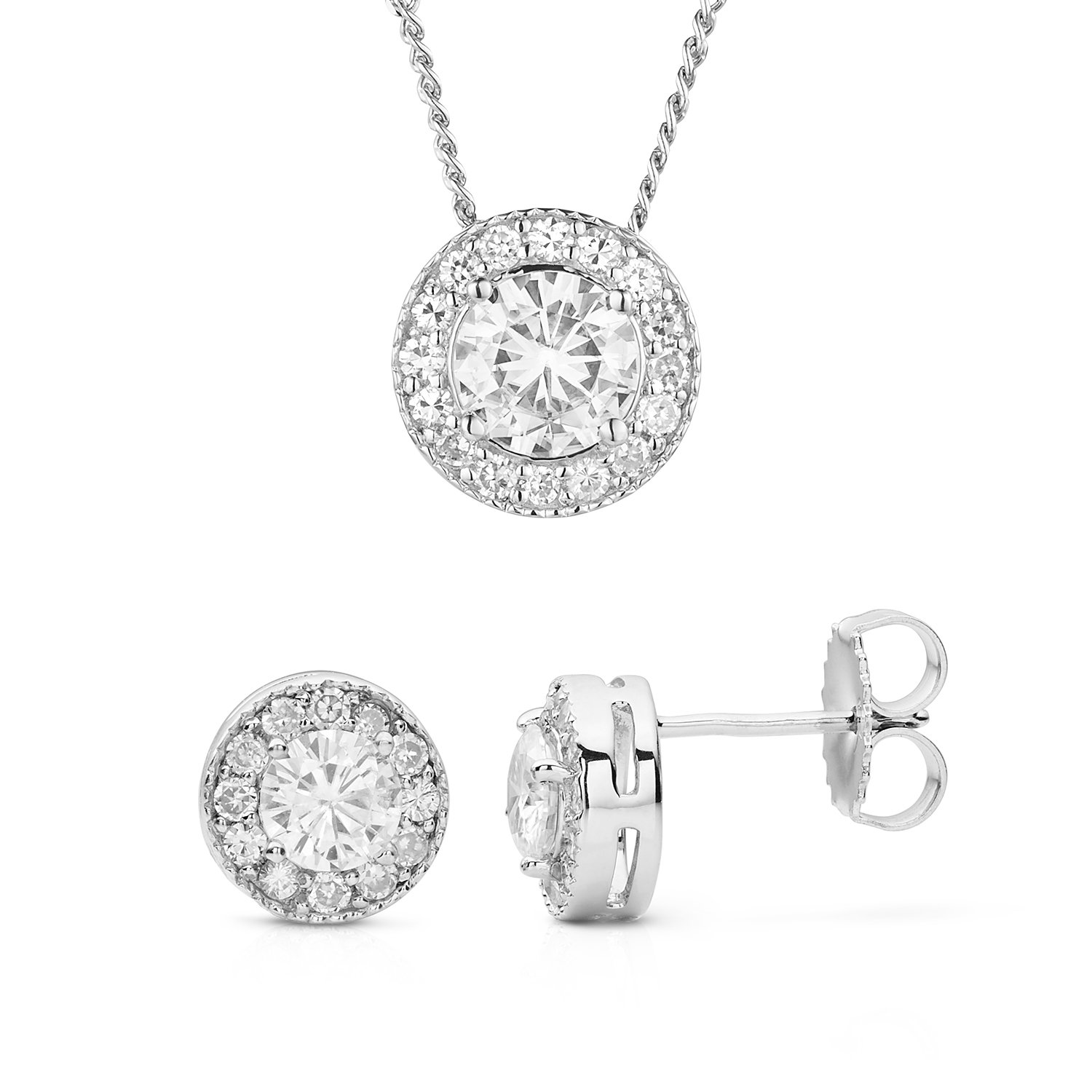 Forever Classic Round Cut Halo Moissanite Earrings and Pendant Necklace Set By Charles & Colvard