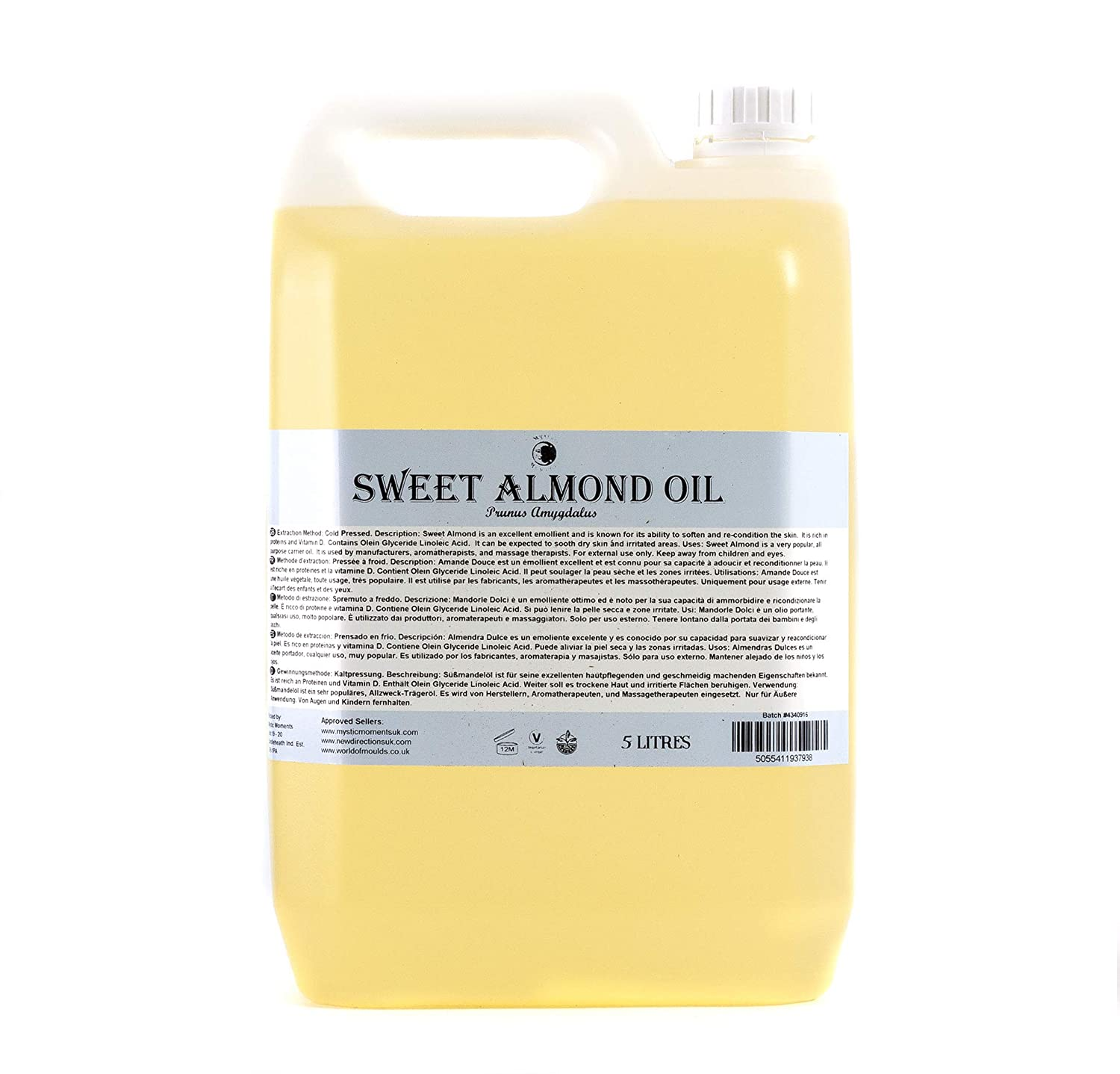 Amazon.com: Mystic Moments | Sweet Almond Carrier Oil - 5 litres - 100% Pure: Health & Personal Care