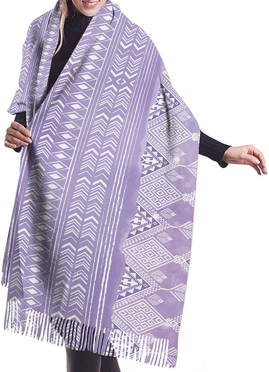 Lines Geometric Triangles Tribal Cashmere Feel Scarves with Tassels for Men Women