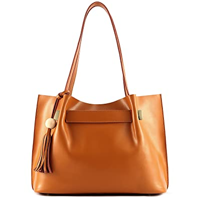9826a0adb9873 Amazon.com | Kattee Ladies' Genuine Leather Tote Shoulder Bag Tassel ...