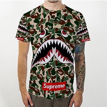 ef4ab0d3 Shark The A Bathing Ape Camo Supreme Fullprint Men's T-Shirt [Size M ...