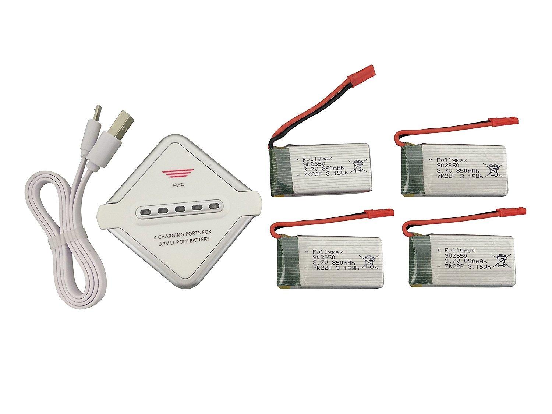 Fytoo 4PCS 3.7V 850mAh Lipo Batería y 4 en 1 Cargador para SYMA ...