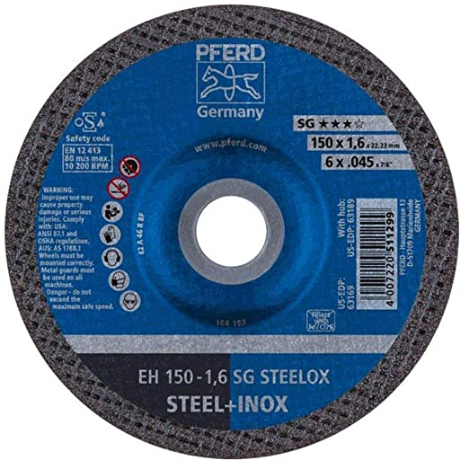 "PFERD 69948 4-1//2/"" x .040/"" Cut-Off Wheel 7//8/"" AH A R SG INOX 60G Type 1 25pk"