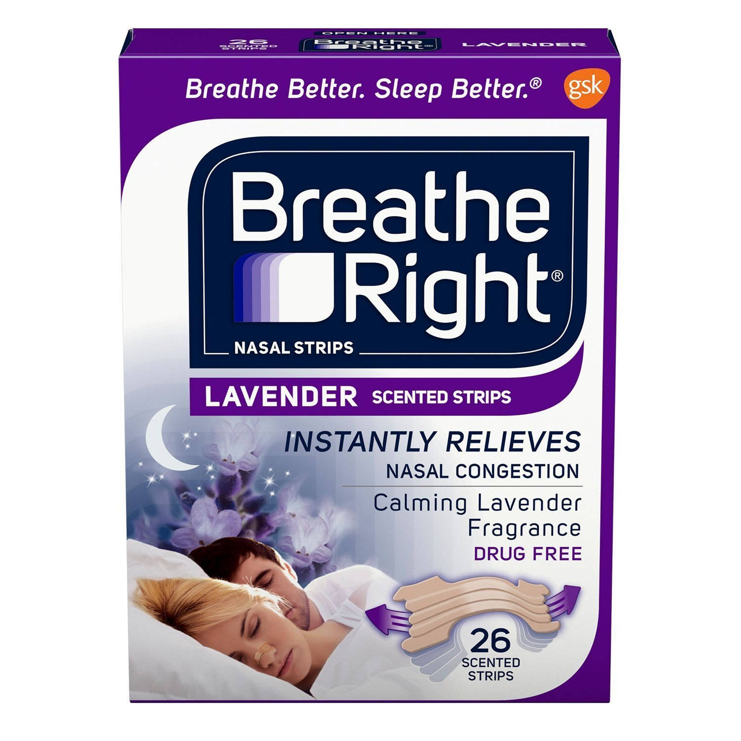 Breathe Right Calming Lavender Scented Drug-Free Nasal Strips for Nasal Congestion Relief 26 count, Pack of 3