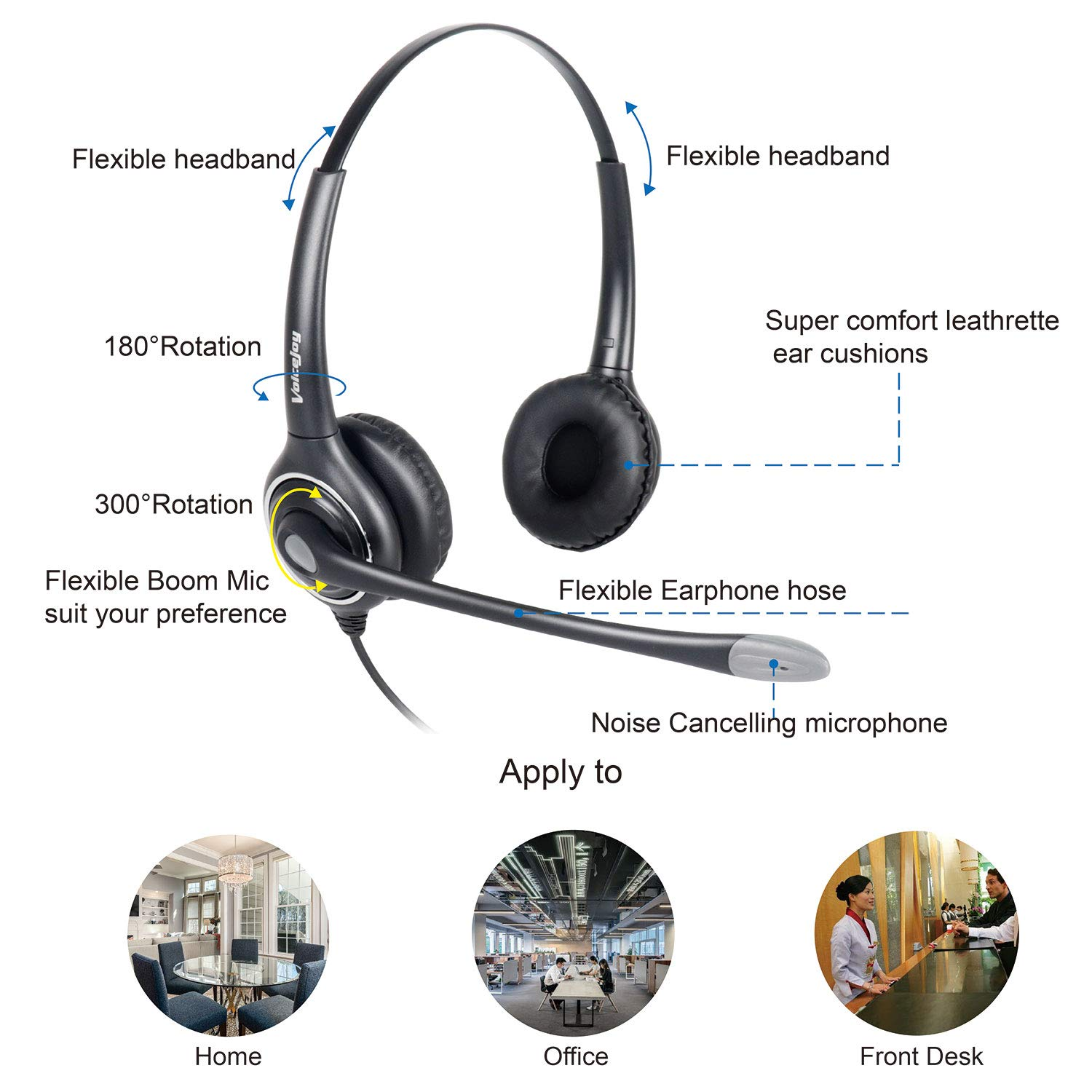 Double Ear Ultra Noise Canceling Call Center//Office Headset /& QD Cable for All Cisco 6900 7800 and 8000 Series Phones and Also Models 7940 7941 7942 7945 7960 7961 7962 7965 7970 7975 etc