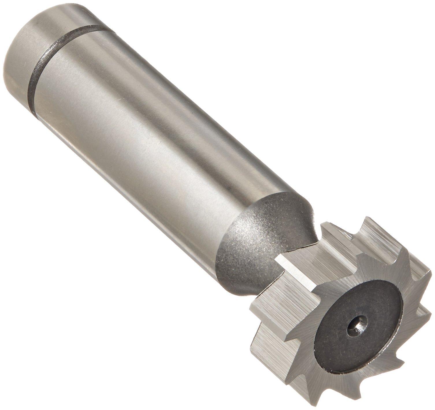 KEO 94022 Cobalt Steel Woodruff Keyseat Cutter, Uncoated (Bright) Finish, Round Shank, 1/2'' Shank Diameter, 3/4'' Cutter Diameter, 10 Straight Teeth, 1/4'' Face Width