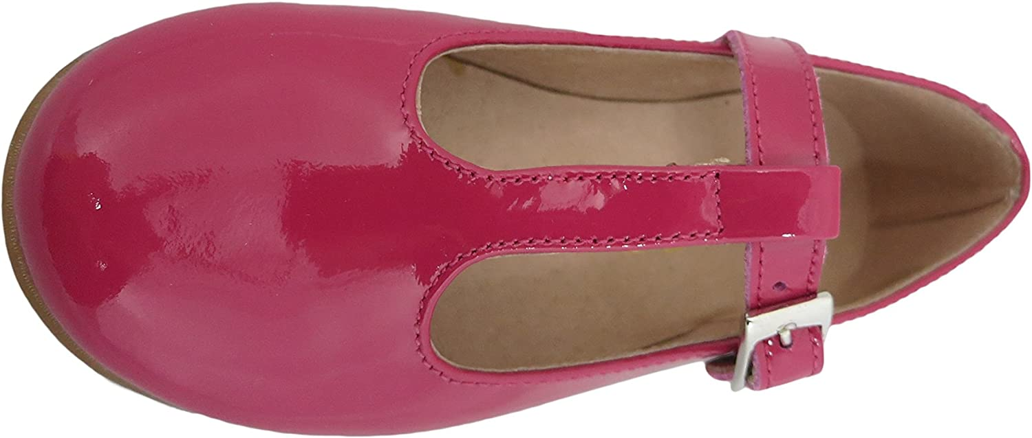 Patent Leather T-Strap Dress Shoe Fiore Girls Fucsia Pink