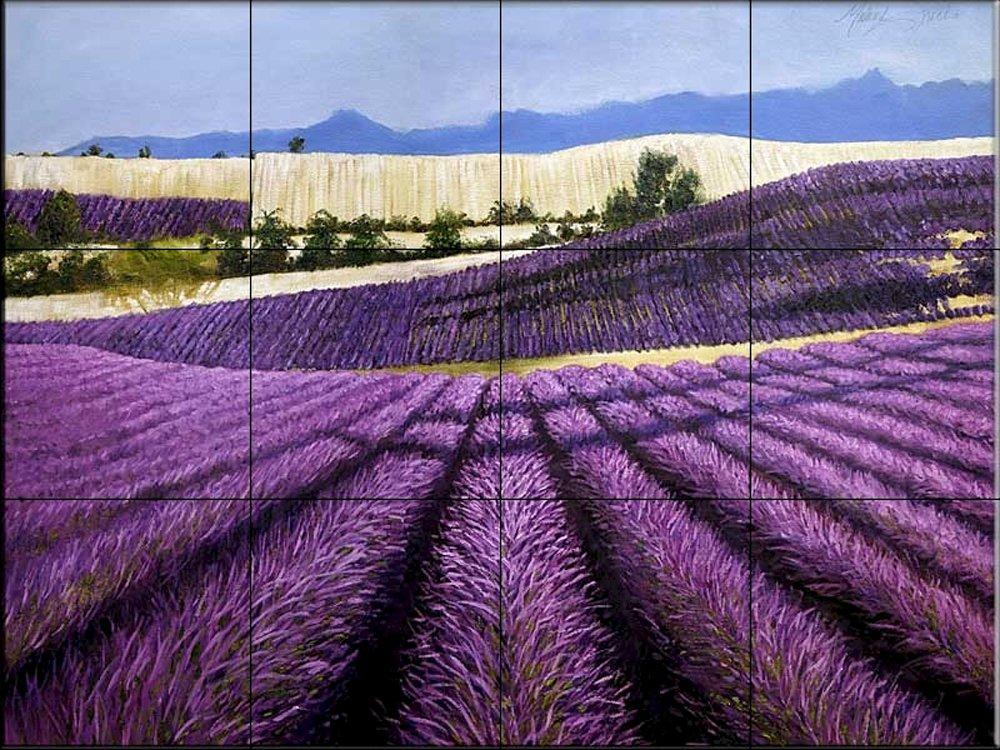 Ceramic Tile Mural - Tuscan Lavender - by Malenda Trick - Kitchen backsplash/Bathroom Shower by The Tile Mural Store