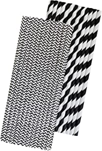 Black and White Paper Straws - Stripe and Chevron - 7.75 Inches - 50 Pack - Outside the Box Papers Brand