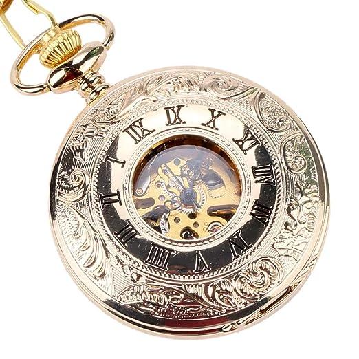 Reloj de Bolsillo Dorado con Colgante Vintage, Relojes de Bolsillo Antiguos, Regalo para Hombres: Amazon.es: Relojes