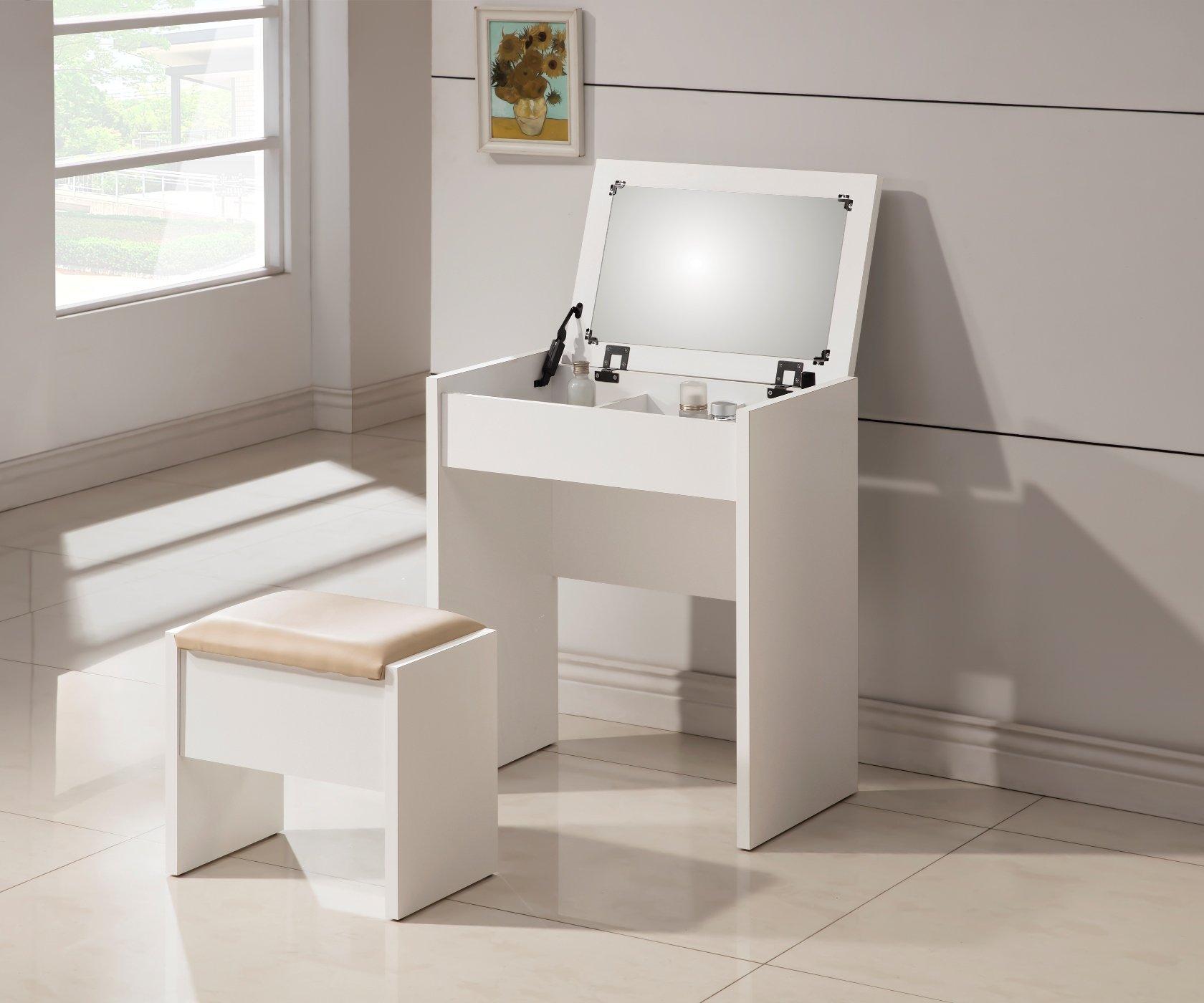 3-Piece Metal Make-Up Heart Mirror Vanity Dresser Table and Beige Stool Set, White