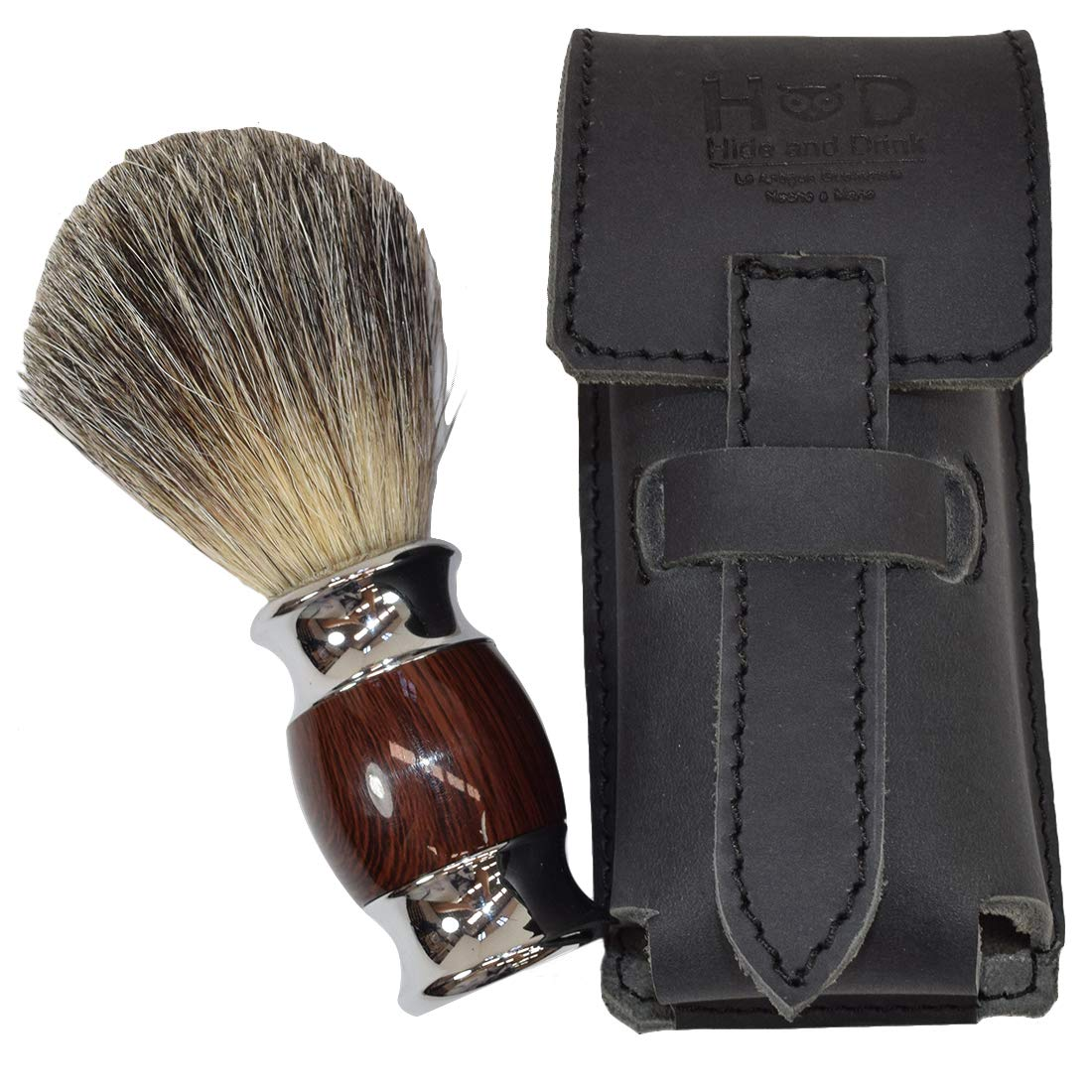 Thick Leather Shaving Brush Case/Travel Protective Sleeve Handmade by Hide & Drink :: Charcoal Black