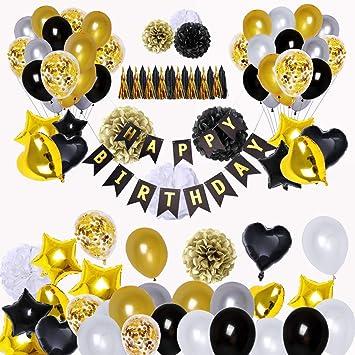 Skaine 98 Piezas de Decoraciones de Fiesta en Negro y Oro, Feliz Cumpleaños Banner Estrella Corazón Foil Globos 30 años 40 años 50 años 60 años 70años ...