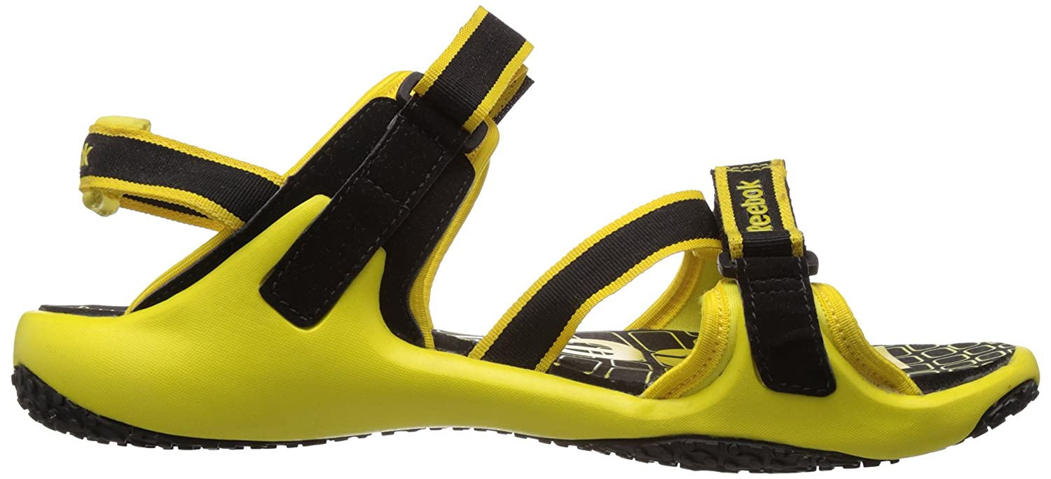 20557f38d3ea4a Reebok Men s Adventure Grail LP Black and Radar Yellow Sandals and Floaters  - 11 UK  Buy Online at Low Prices in India - Amazon.in